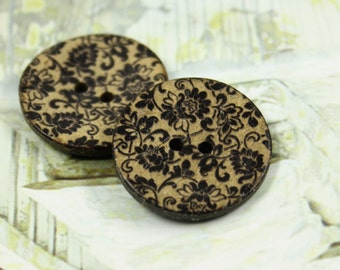 Flower Wooden Buttons - Black Lace Flowers Coconut Buttons 1 inch . 6 in a set