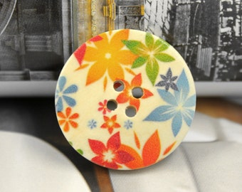 Wooden Buttons - Colorful Flowers Picture Natural Wood Buttons, 1.18 inch (6 in a set)
