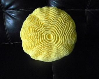 Crochet round ruffle pillow, bright yellow
