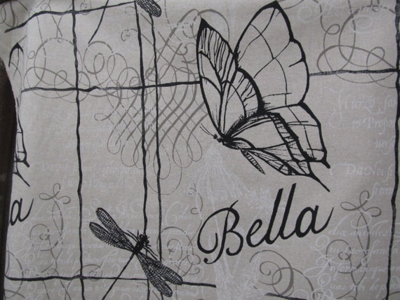 BELLA BUTTERFLY  on Heavy Basket Cotton fabric