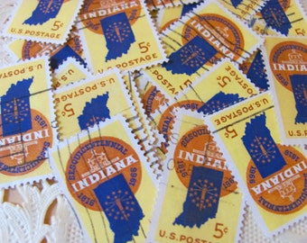 Indiana Statehood 30 Vintage US Postage Stamps 5-cent Scott 1308 Indianapolis Indy 500 Pacers Hoosiers 1960s Scrapbooking EphemeraPhilately