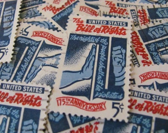The Bill of Rights 30 US Vintage Postage Stamps 1960s 5-Cent Civil Rights Equality Peace Politics Red White Blue Scrapbooking Ephemera Vote