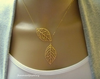 Leaf Necklace - Leaf Lariat - Simple - Modern - Bridesmaid gift - Charm - Silver or Gold