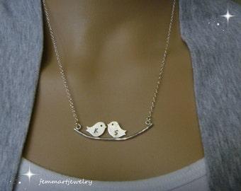 Love birds necklace - Two Bird Necklace - Bird Initial Necklace - Silver birds necklace - Personalized - Couples necklace