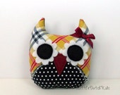 Sidney (Black and Chartreuse Plaid Owl Pillow) owl party favor, stuffed owl