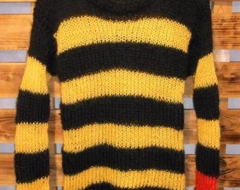 Mohair sweater by camdenlock clothing punk rock new colors black and yellow stripe handmade knitting