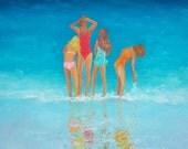 Beach painting, girls on the beach, beach art, seascape, ocean painting, original oil beach art by Jan Matson.