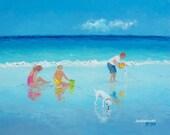 Beach painting, seascape, beach art, ocean painting, cottage beach decor, original oil painting by Jan Matson.