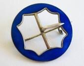 Vintage Danish Sterling Silver Blue Guilloche Enamel Buckle Brooch Pin