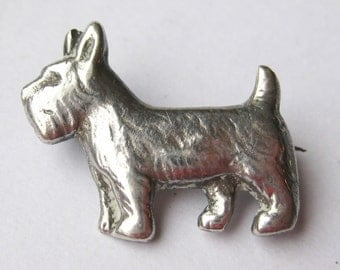 Vintage 30s Mexican Taxco Sterling Silver Scottie Dog Scottish Terrier Brooch Pin