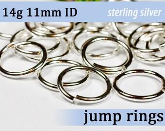14g 11.0mm ID sterling jump rings -- silver 925 jumprings 14g11.00 links