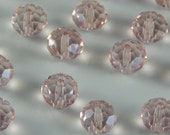 Glass Jewelry Beads - 8mm Faceted Rondelles, Light Pink Color, 1mm Hole Size, 20 Pieces