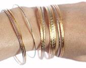 SALE • • skinny bangle set. bollywood stacking bracelets. silver, copper, gold metallic • • apu bangle