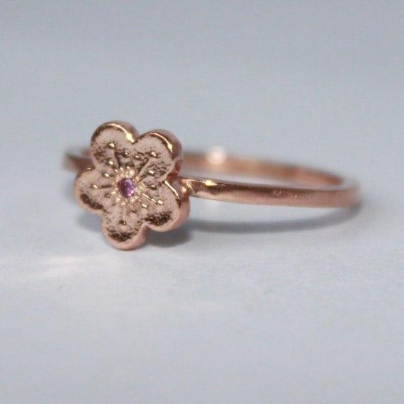 tiny diamond flower ring. little sakura cherry blossom. solid pink gold or rose gold vermeil • • pico diamond ring