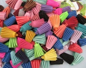 Tassel Accessories,50pcs assorted colors Suede Leather Tassels charm pendant,DIY materials 29x12 mm