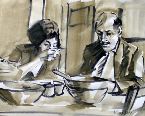 "The Meal at Amélie's House, watercolor on sketchbook paper 10""x8"" by Kenney Mencher"