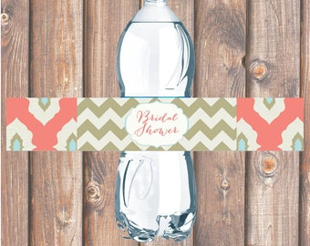 Water Bottle Labels DIY Coral Ikat Chevron Printable Water Bottle Labels for Birthday Party, Bridal Shower, Baby Shower - INSTANT DOWNLOAD