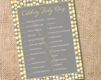 Gray and Yellow Baby Shower Game Printable Celebrity Babies Champagne Bubbles Printable Celebrity Baby Match Game- INSTANT DOWLOAD