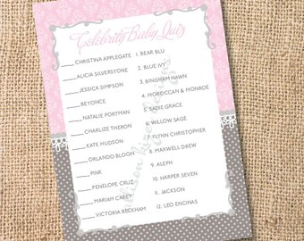 Florence Pink and Gray Printable Celebrity Baby Match Game - INSTANT DOWLOAD