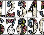 """4 House Numbers - 4 1/2"""" high -Painted Numbers - Metal Art - Hand Painted Metal Address from Recycled Steel Drum - Yard Art - AD-200-4BK"""