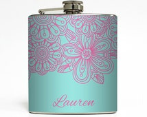 Custom Flask Personalized Floral Flower Tiff Blue Custom Color 21st Birthday Women Gifts Stainless Steel 6 oz Liquor Hip Flask LC-1419