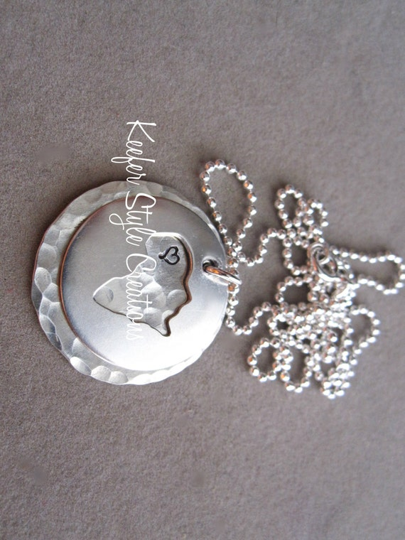 Hand Stamped Africa  cut out adoption/mission necklace