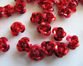 6mm ALUMINUM Flower Beads in Red, 50 Beads, Front to Back Hole