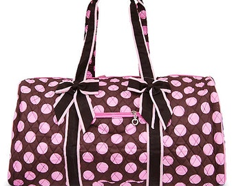 Personalized Brown and Pink color Polka Dots Quilted Duffle Bag Monogrammed for FREE, Great for Birthdays, Dance, Cheer, Sleepovers, Gifts