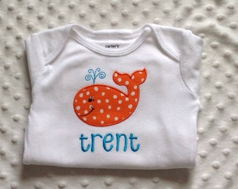 Baby Boy   Personalized Bodysuit ,  Whale Theme