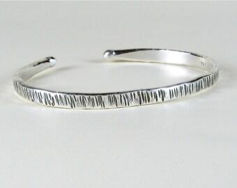 Fine silver cuff bracelet textured bark sticks oxidized organic artisan