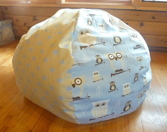Baby Blue Owl, Putty with Blue Polka Dots, and Blue and Putty Stripes Bean Bag Chair Cover - Gift Under 75