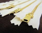 10inch - Cream Metal Zipper - Gold Teeth - 5pcs