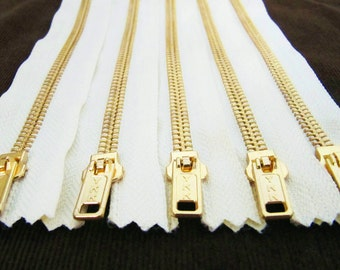 7inch - Cream Metal Zipper - Gold Teeth - 5pcs