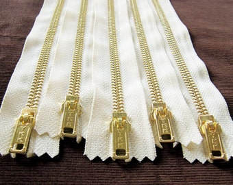 8inch -  Cream Metal Zipper - Gold Teeth - 5pcs
