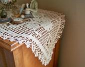 Hand Crocheted Heart and Flower Filet Table Runner or Dresser Scarf