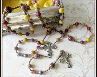 Coptic Rosary for Men, Catholic Rosary, Mookaite Jasper Rosary, Large Rosary, Bronze Rosary,  Beaded Rosary, LAST ONE