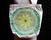 Upcycled Ivory Canvas Tote Bag with Crocheted Doily on Appliqued Fabric, Vintage Ric-Rac Trim, Lined Interior