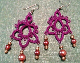 Needle Tatted Earrings = Deep Plum Beaded Dangles