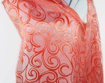 CURLS Hand-dyed Silk/Rayon Scarf in Peachy-Red