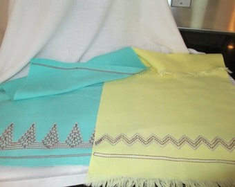 Huck Towel with Swedish Embroidery  Aqua //Yellow  PAIR c.1960 By Gatormom13