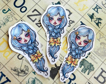 The Braid art sticker by Rudy Fig, blue haired girl, kawaii, whimsical, bow, nouveau