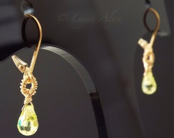 Petite yellow gold and lime green cubic zirconia wire wrapped dangle earrings