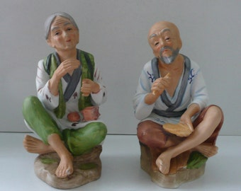 Pair Homco Japanese Man and Woman China Figurines