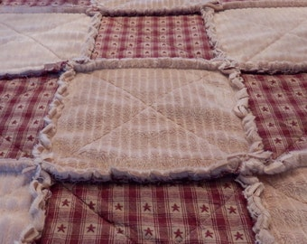 Twin Size Rag Quilt, Primitive Country, Red Star Homespun, Minky Blanket, Farmhouse Quilt, Handmade in NJ