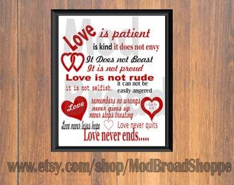 1 cor. 13, Love is Patient, Love is Kind, Print, 1 cor. 13, Subway Art, Bible Verse Print, Bible Verse, Wall Decor, Love Wall Decor, love
