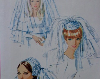 60s Bridal Headpieces & Veils Pattern Simplicity 6846 Pillbox Hat Lined w Bow Ring Shaped Headpiece Fingertip Layered Veil UNCUT