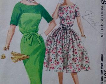 60s Wiggle Dress Pattern Full Skirt Dress Bust 34 McCalls 5811 UNCUT