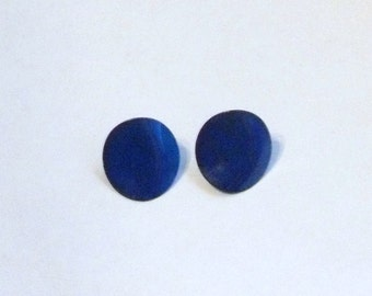 Awesome Blue Late 70's and Early 80s Round Pierced Earrings