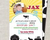 Holy Cow! Barnyard Theme Custom Double-sided Photo Birthday Invitation (Printable Digital File or Printed)