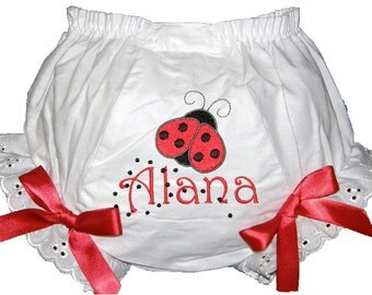 Personalized Ladybug Baby Girl Bloomers, Diaper Cover, Panties